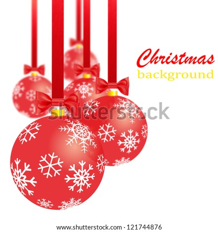 Transparent red christmas decorations, bows and ribbons - stock photo