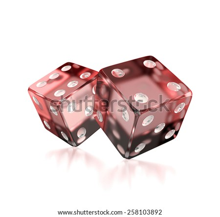 transparent red dices isolated  - stock photo