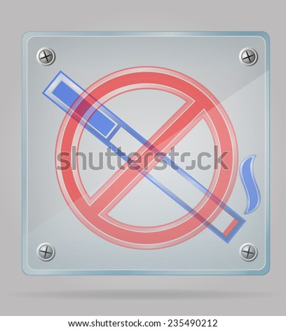 transparent sign no smoking on the plate illustration isolated on gray background - stock photo