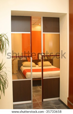 transparent sliding door - stock photo