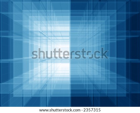 Transparent spatial screens geometric background - stock photo