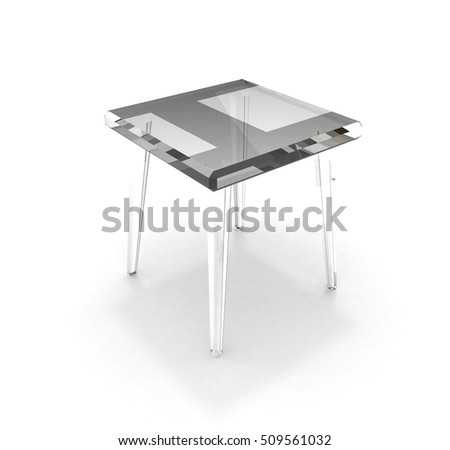 Transparent stool with shadow over white background