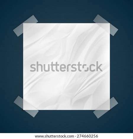transparent tape stich crushed paper, communication concept - stock photo