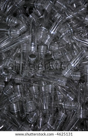 transparent tubes (crude material for plastic bottles)