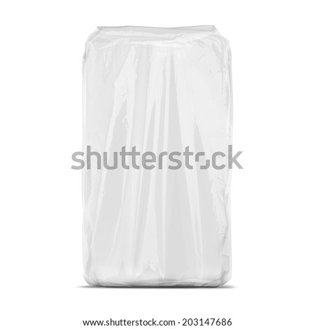 Transparent white plastic package isolated on white background. Ready for your design. Packaging collection. - stock photo