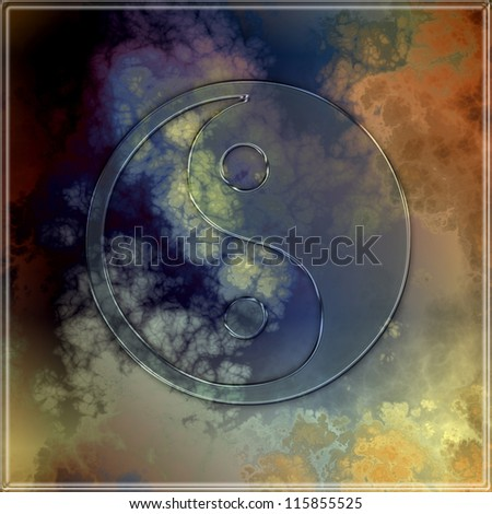 Transparent yin yang symbol on an abstract background