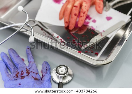transplant of hand in theoperating room instruments, during a surgical procedure