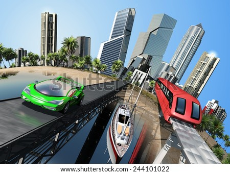 Transport and city skyline on a model of the globe. - stock photo
