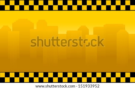 transport background with taxi sign and office building