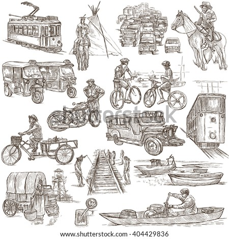 TRANSPORT. Collection of an hand drawn illustrations. Description, Full sized hand drawn illustrations - freehand sketches. Drawings on white background. - stock photo