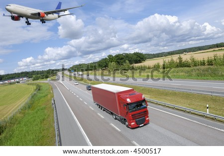 transport concept, by air and land, truck and  over-sized airliner - stock photo