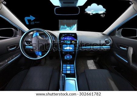 transport, destination and modern technology concept - car salon with navigation system on dashboard and meteo sensor on windshield - stock photo