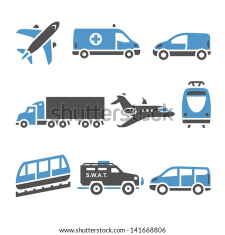 Transport Icons - A set of seventh. Set silhouettes isolated on white background. Bicolor (blue and gray colors). Vector version (eps) also available in gallery - stock photo