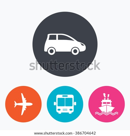Transport icons. Car, Airplane, Public bus and Ship signs. Shipping delivery symbol. Air mail delivery sign. Circle flat buttons with icon. - stock photo