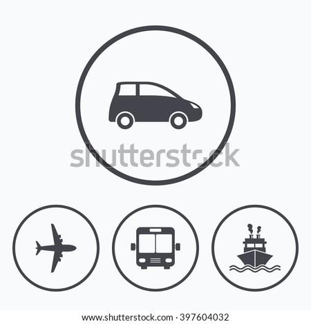 Transport icons. Car, Airplane, Public bus and Ship signs. Shipping delivery symbol. Air mail delivery sign. Icons in circles. - stock photo