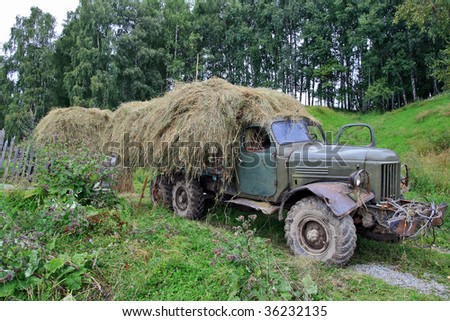 Transport in the Siberian village for the carriage of goods - stock photo