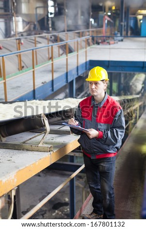 Transport of sugar on the production line  - stock photo