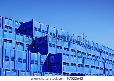 Transport  plastic containers, pile of boxes - stock photo