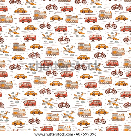 Transport seamless pattern. Hand Drawn doodle car, airplane, steam locomotive,  bicycle. Colorful Wallpaper for kids - stock photo
