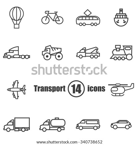 Transport set of 14 icons in a  flat style - stock photo