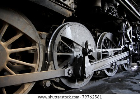 Transport steam train wheel - stock photo
