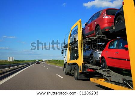 Transport truck on highway - stock photo