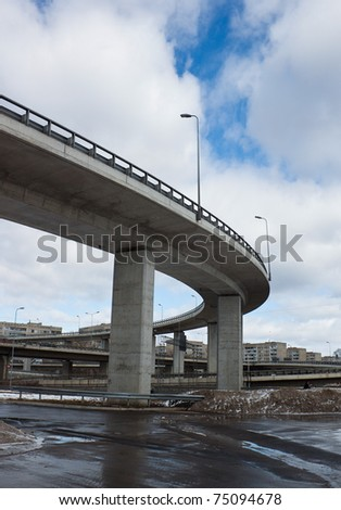 Transport viaduct over the road - stock photo