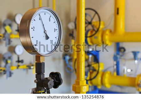 Transportation and measuring of natural gas and oil through pipes - stock photo