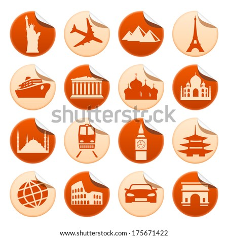 Transportation and sights stickers. Raster version of EPS image 32249116 - stock photo