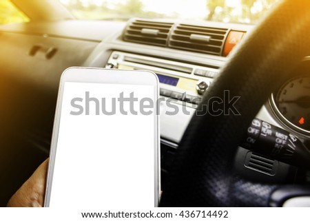 transportation and vehicle concept -using phone while driving the car
