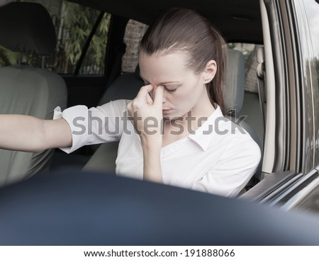 Transportation concept - Stressed woman driver. - stock photo