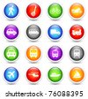 Transportation Icon on Reflective Button Collection Original Illustration - stock vector