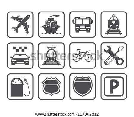 Transportation icons and signs. Vector version also available in my portfolio. - stock photo