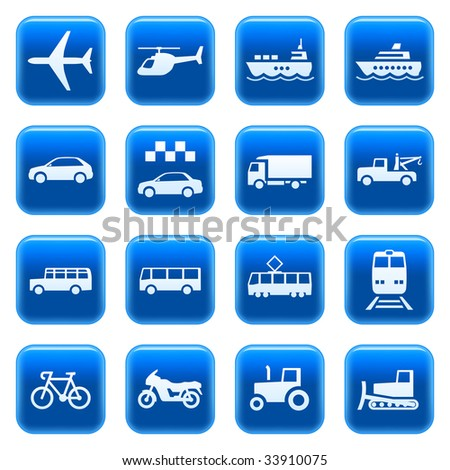 Transportation icons buttons set 3. Raster version of vector image #27804889 - stock photo