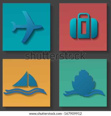 transportation icons set - stock photo