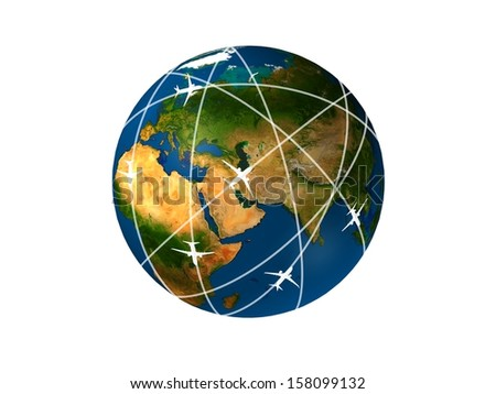 Transportation isolated on a white Elements of this image furnished by NASA - stock photo