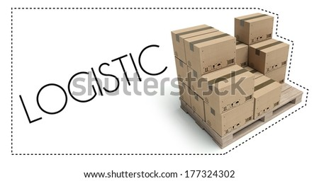 Transportation logistic concept, wooden pallet with cardboard boxes - stock photo