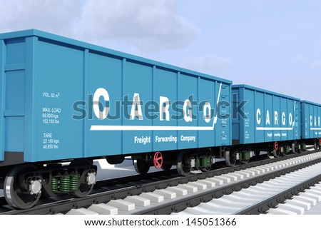 Transportation of cargo rail wagons. - stock photo