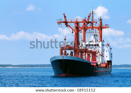 Transportation ship at sea (space for text) - stock photo