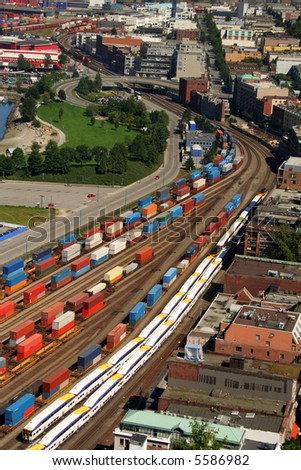 Transportation system aerial view from Vancouver, Canada - stock photo