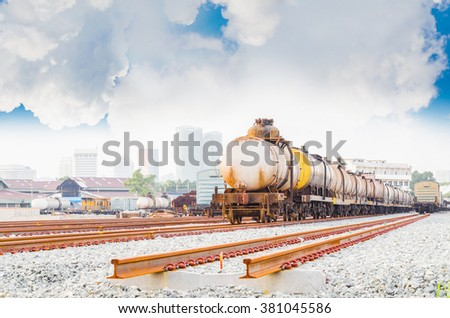 Transportation train  with oil - stock photo