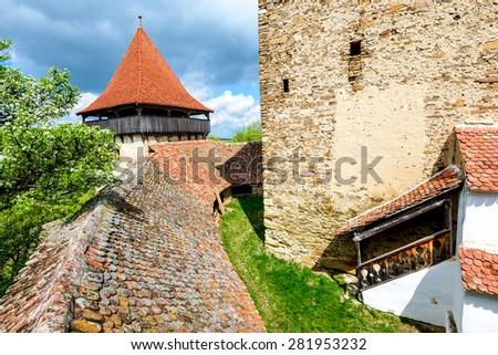 Transylvania, Romania. Image with interior courtyard of Viscri fortified church, UNESCO heritage site, german landmark in romanian country. - stock photo
