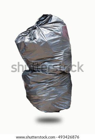 Trash bags on white background