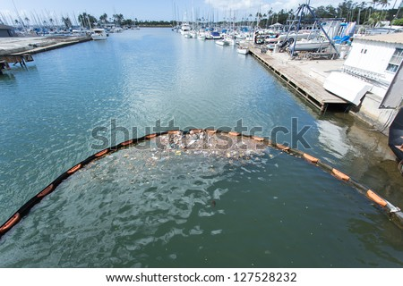 Trash Barrier with Yacht club background - stock photo
