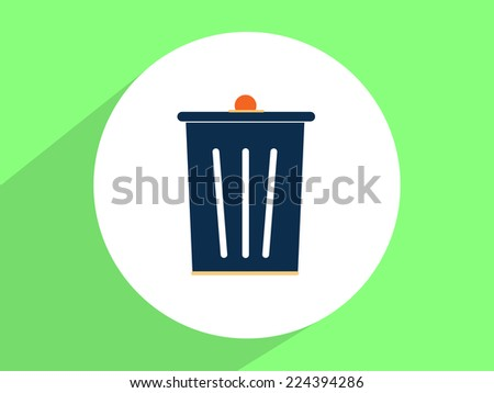 Trash bin ,Flat design style - stock photo