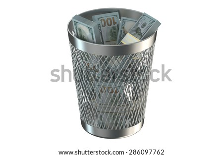 Trash bin with packs of dollars isolated on white background - stock photo