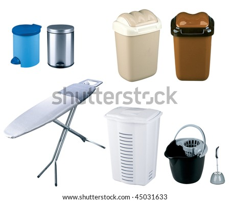 trash bins and Ironing Board on white background - stock photo