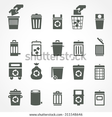 Trash can and recycle bin icons - stock photo