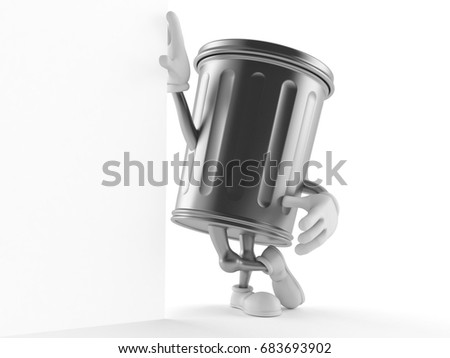 Trash can character isolated on white background. 3d illustration