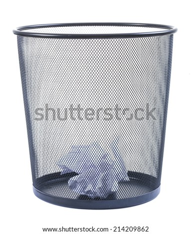 Trash can filled with crumbled paper isolated on white background - stock photo